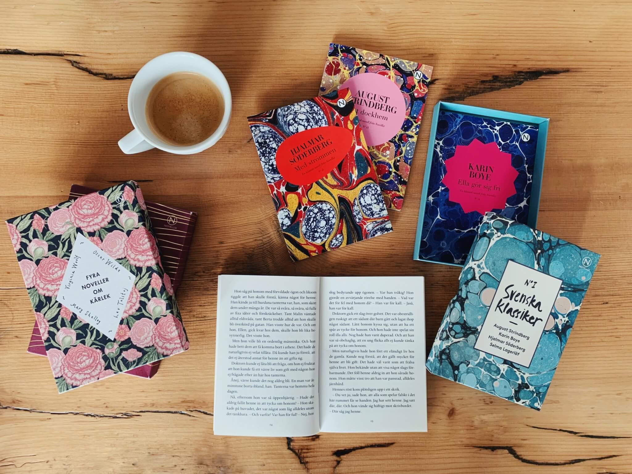kaffekopp och flera novellix-askar
